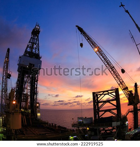 Jack Up Offshore Oil Drilling Rig with Fish Eye Angle Perspective - stock photo