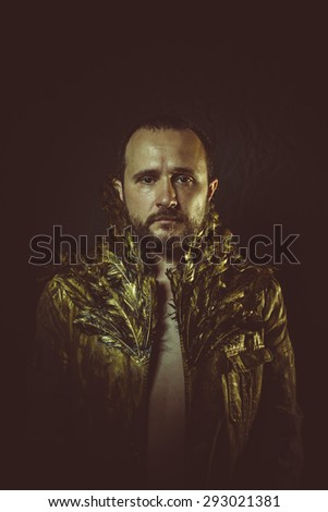 jacket attractive man with golden feathers