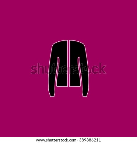 Jacket. Black simple flat icon with white stroke - stock photo