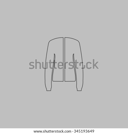 Jacket. Flat outline icon on grey background - stock photo