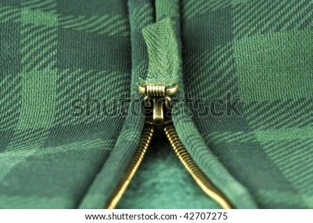 jacket fragment with metal zipper - stock photo