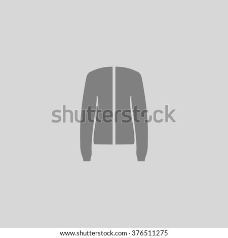 Jacket. Grey simple flat icon - stock photo