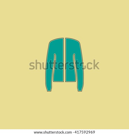 Jacket. Grren simple flat symbol with black stroke over yellow background - stock photo