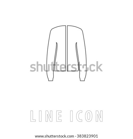 Jacket. Outline simple pictogram on white. Line icon - stock photo