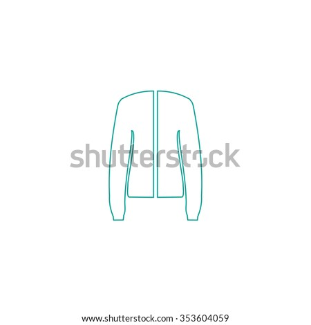 Jacket. Outline symbol on white background. Simple line icon - stock photo