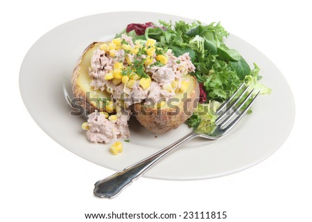 Jacket potato with tuna and sweetcorn - stock photo
