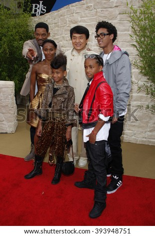 """Jackie Chan, Will Smith, Jada Pinkett Smith, Jaden Smith and Willow Smith at the Los Angeles Premiere of """"The Karate Kid"""" held at the Mann Village Theater in Westwood, USA on June 7, 2010.  - stock photo"""