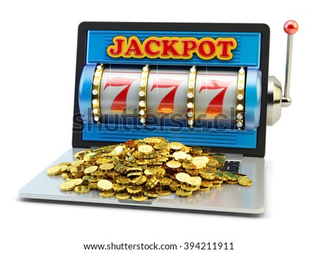 Jackpot, gambling gain, luck and success concept, casino app, laptop computer with slot machine with winning event and heap of gold coins on keyboard isolated on white - stock photo