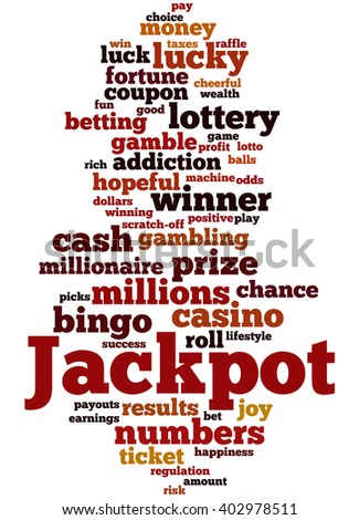 Jackpot, word cloud concept on white background.