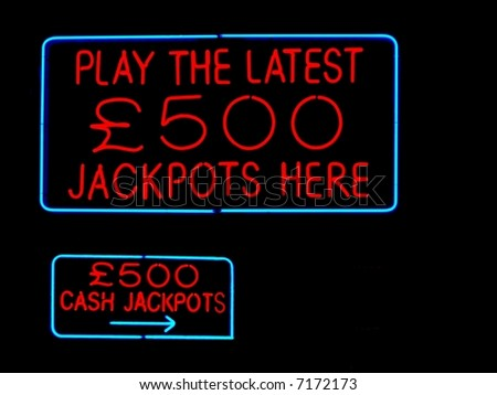 jackpots neon sign  close up - stock photo