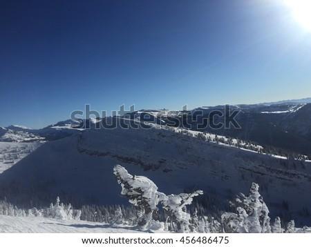 Jackson Hole, Wyoming ski slopes during winter - stock photo