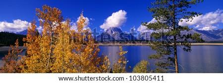 Jackson Lake and Grand Tetons, Grand Teton National Park, Wyoming - stock photo