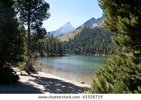 Jackson Lake and the Grand Teton Mountains - stock photo