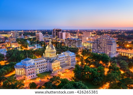 Jackson, Mississippi, USA skyline over the Capitol Building. - stock photo