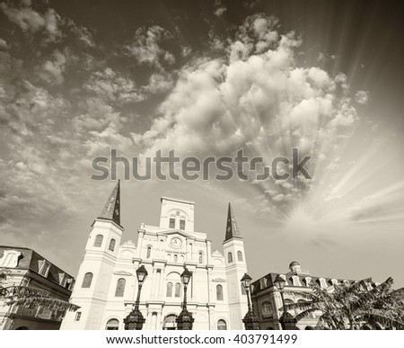 Jackson Square on a beautiful day, New Orleans. - stock photo
