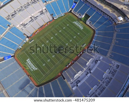 JACKSONVILLE - AUGUST 18: Aerial photo of the Everbank Field Stadium home to the Jacksonville Jaguars located at 1 Everbank Field Dr August 18, 2016 in Jacksonville FL, USA