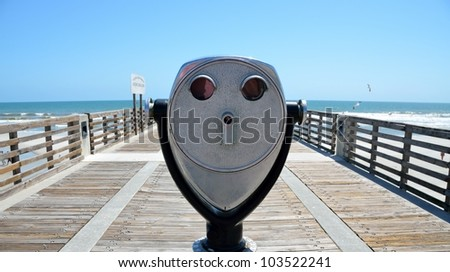 Jacksonville Beach Florida fishing pier is a quarter of a mile long. - stock photo