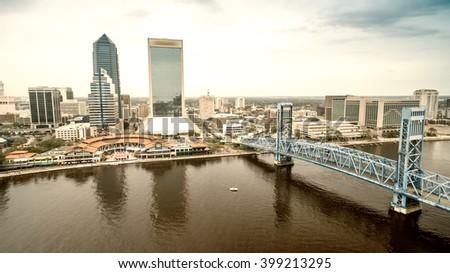 Jacksonville - City aerial view. - stock photo