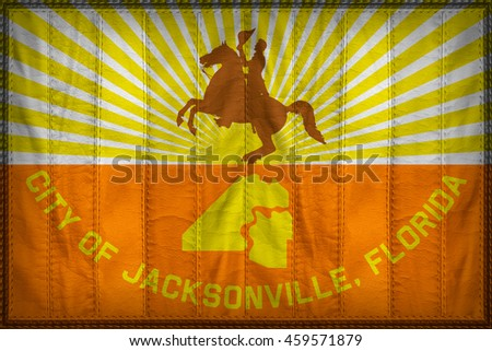 Jacksonville City flag pattern on synthetic leather texture, 3d illustration style