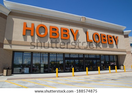JACKSONVILLE, FL - APRIL 21, 2014: Front of a Hobby Lobby store. Hobby Lobby is a retail chain of arts and crafts stores in the U.S. As of 2012, the chain has 561 stores across the U.S.A. - stock photo