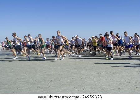Jacksonville, FL - February 8: Start of Beaches 10 Mile Run at Jacksonville Beach, Florida on February 8, 2009. - stock photo