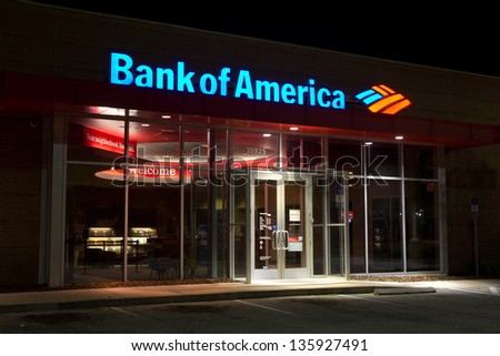 JACKSONVILLE, FL - MAR 30: A Bank of America branch bank at night located in Jacksonville, Florida on March 30, 2013. Bank of America is the second largest bank holding company in the US by assets.