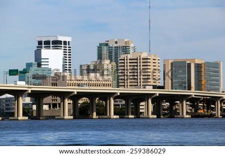 Jacksonville, florida bridge and skyline on the south  bank - stock photo