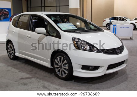 JACKSONVILLE, FLORIDA-FEBRUARY 18: A 2012 Honda Fit Sport on display at the Jacksonville Car Show on February 18, 2012 in Jacksonville, Florida. - stock photo