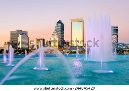 Jacksonville, Florida Fountain Skyline - stock photo