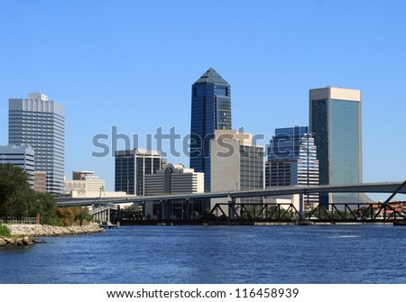Jacksonville Florida Skyline, along the St Johns River - stock photo