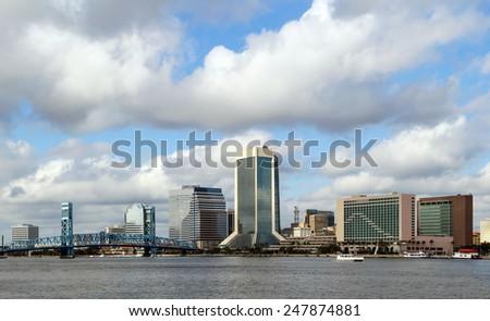 Jacksonville, Florida skyline along the St Johns River - stock photo