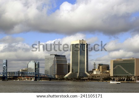 Jacksonville, Florida skyline along the St Johns River, as seen from South Bank - stock photo