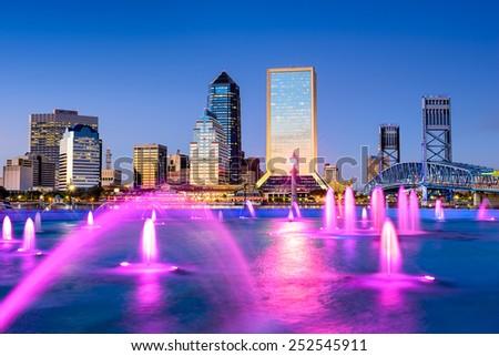 Jacksonville, Florida, USA city skyline at the fountain. - stock photo