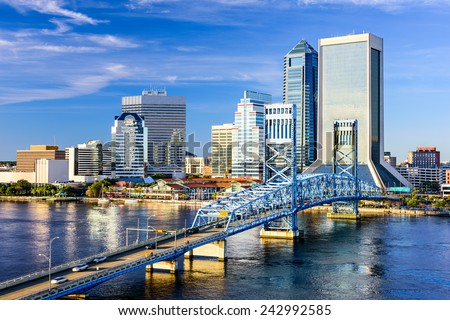 Jacksonville, Florida, USA downtown city skyline on St. Johns River. - stock photo