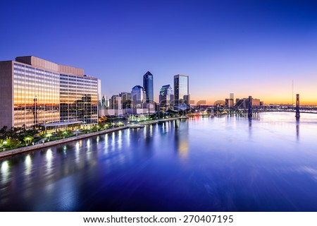 Jacksonville, Florida, USA downtown skyline on St. Johns River.