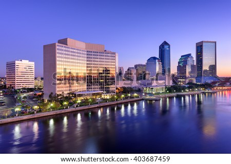 Jacksonville, Florida, USA downtown skyline on St. Johns River. - stock photo