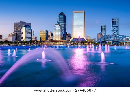 Jacksonville, Florida, USA skyline at Friendship Fountain. - stock photo