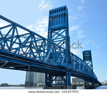 Jacksonville's famous blue main street bridge, florida, usa. - stock photo