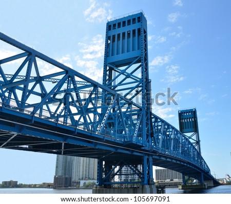 Jacksonville's famous blue main street bridge, florida, usa. - stock photo