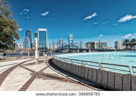 Jacksonville skyline and fountain, Florida. - stock photo