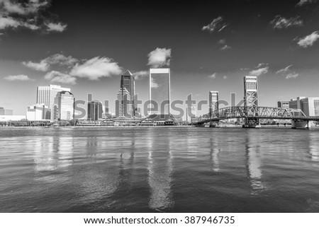 Jacksonville skyline on a beautiful day, Florida. - stock photo