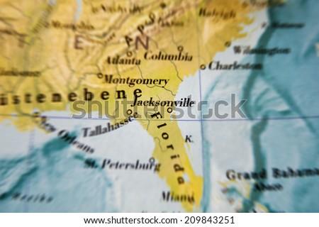 Jacksonville, USA map part of a world globe - stock photo