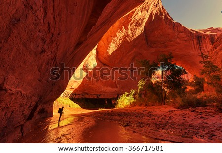 Jacob Hamblin Arch in Coyote Gulch, Grand Staircase-Escalante National Monument, Utah, United States - stock photo