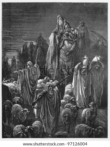 Jacob moved to Egypt - Picture from The Holy Scriptures, Old and New Testaments books collection published in 1885, Stuttgart-Germany. Drawings by Gustave Dore. - stock photo