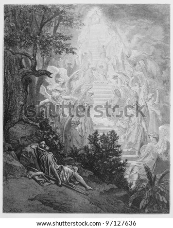 Jacob's dream - Picture from The Holy Scriptures, Old and New Testaments books collection published in 1885, Stuttgart-Germany. Drawings by Gustave Dore. - stock photo