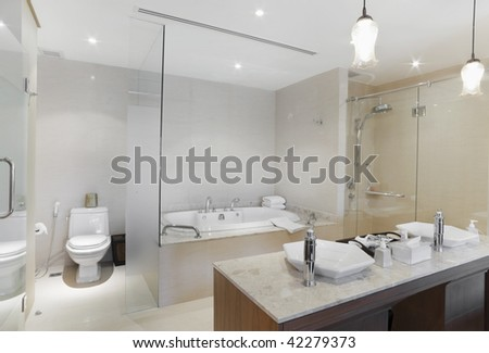 jacuzzi and  basin  in design - stock photo