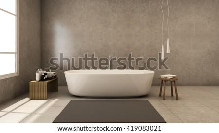 Jacuzzi bath design modern & Loft - 3D render - stock photo