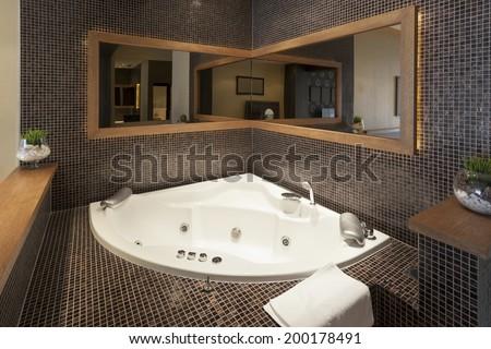 Jacuzzi bath in luxury living room apartment - stock photo