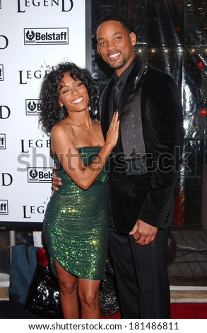 Jada Pinkett Smith, wearing a Versace dress,, Will Smith at Premiere of I AM LEGEND, WAMU Theatre at Madison Square Garden, New York, NY, December 11, 2007 - stock photo
