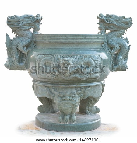 Jade dragon incense burner. Burning incense sticks in a temple complex in Thailand - stock photo